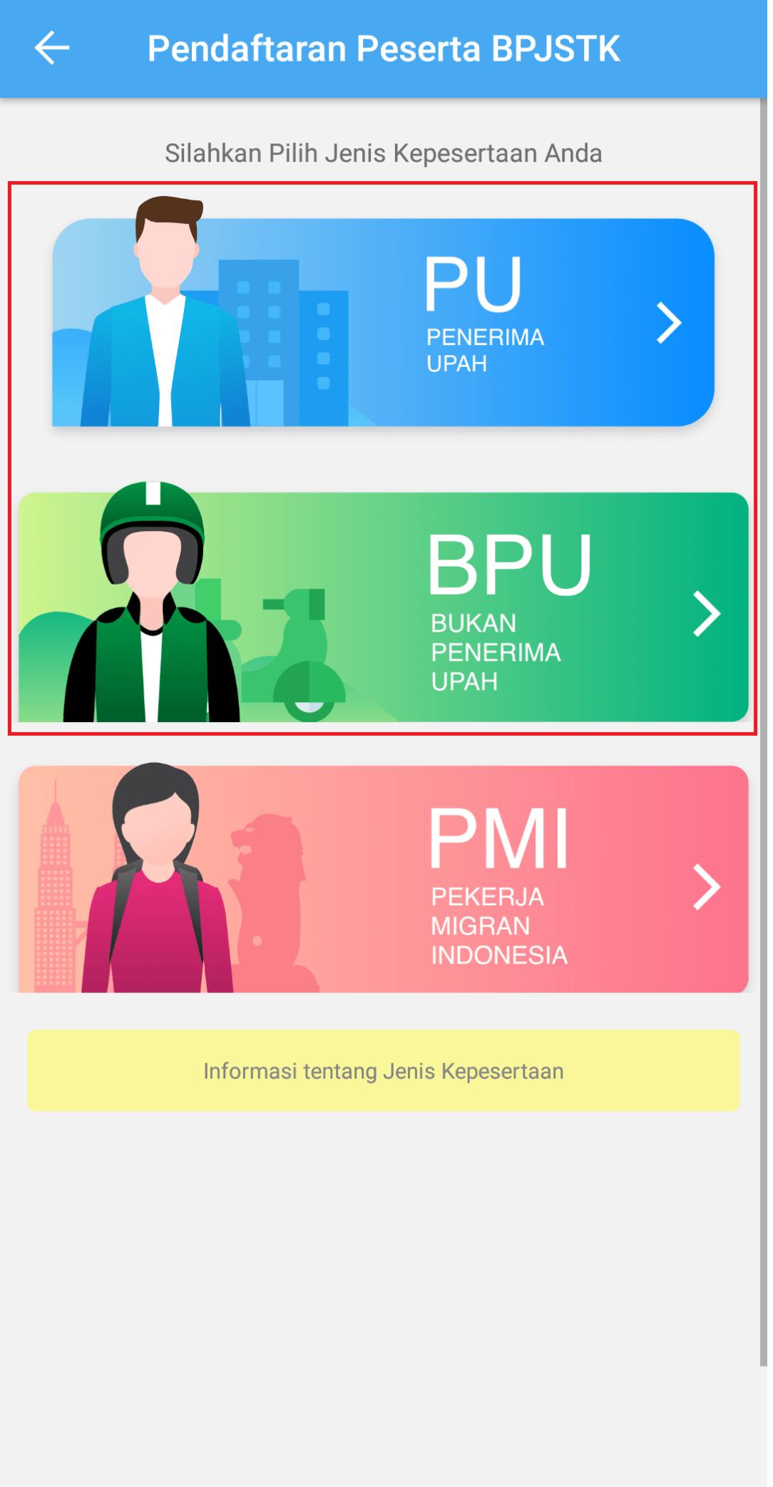 Pilihan Kategori Pendaftaran BPJS Ketenagakerjaan (Website)