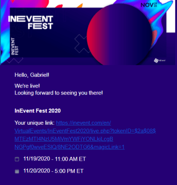 InEvent Fest Email