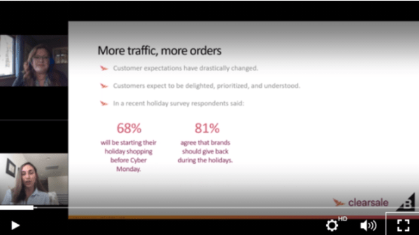 BigCommerce webinar slide. More traffic, more orders. Customer expectations have drastically changed. Customers expect to be delighted, prioritized, and understood. In a recent holiday survey, respondents said: 68% will be starting their holiday shopping before Cyber Monday. 81% agree that brands should give back during the holidays.