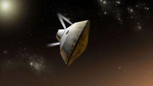 Rappresentazione artistica della navicella del Mars Science Laboratory nella fase precedente all'atterraggio di Curiosity su Marte