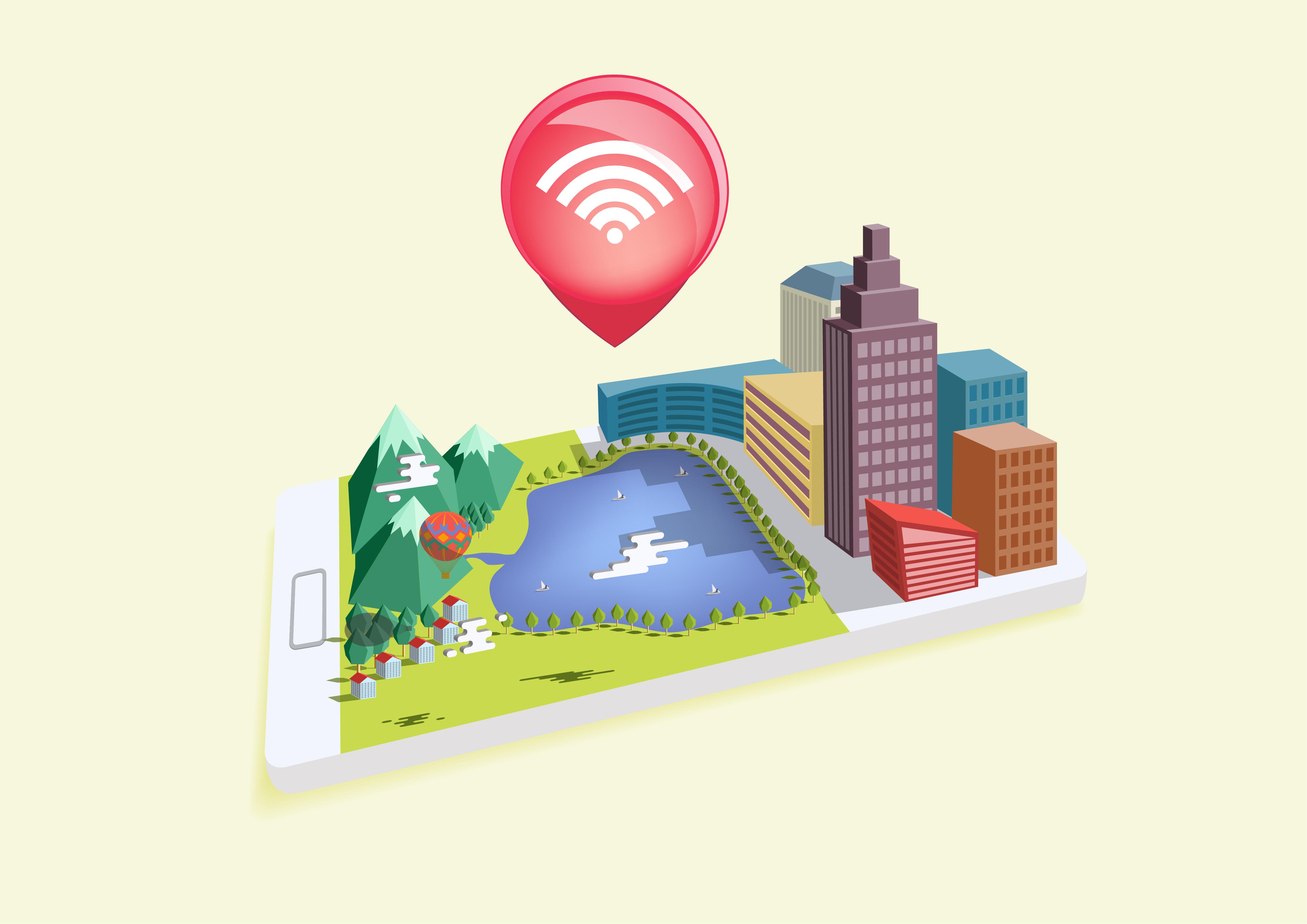 Imagem criada digitalmente composta por uma cidade em 3D feita em cima de um smartphone. A cidade conta com um grande lago e uma área verde, além do símbolo do wi-fi logo acima do aparelho, demonstrando a importância de uma cidade digital.