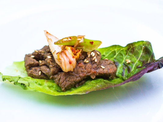 the national dish of korea - bulgogi with kimchi