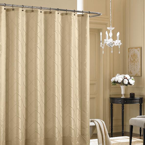 a shower curtain over a shower door