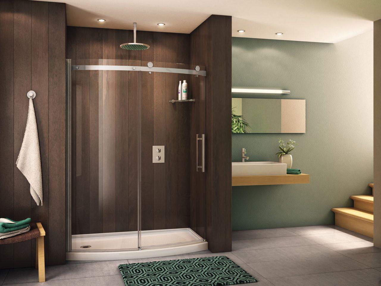 a shower door over a shower curtain