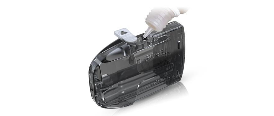 flacon d'e-liquide remplissant le POD Teros