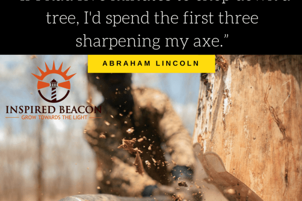 """""""If I had five minutes to chop down a tree, I'd spend the first three sharpening my axe."""" — Abraham Lincoln"""