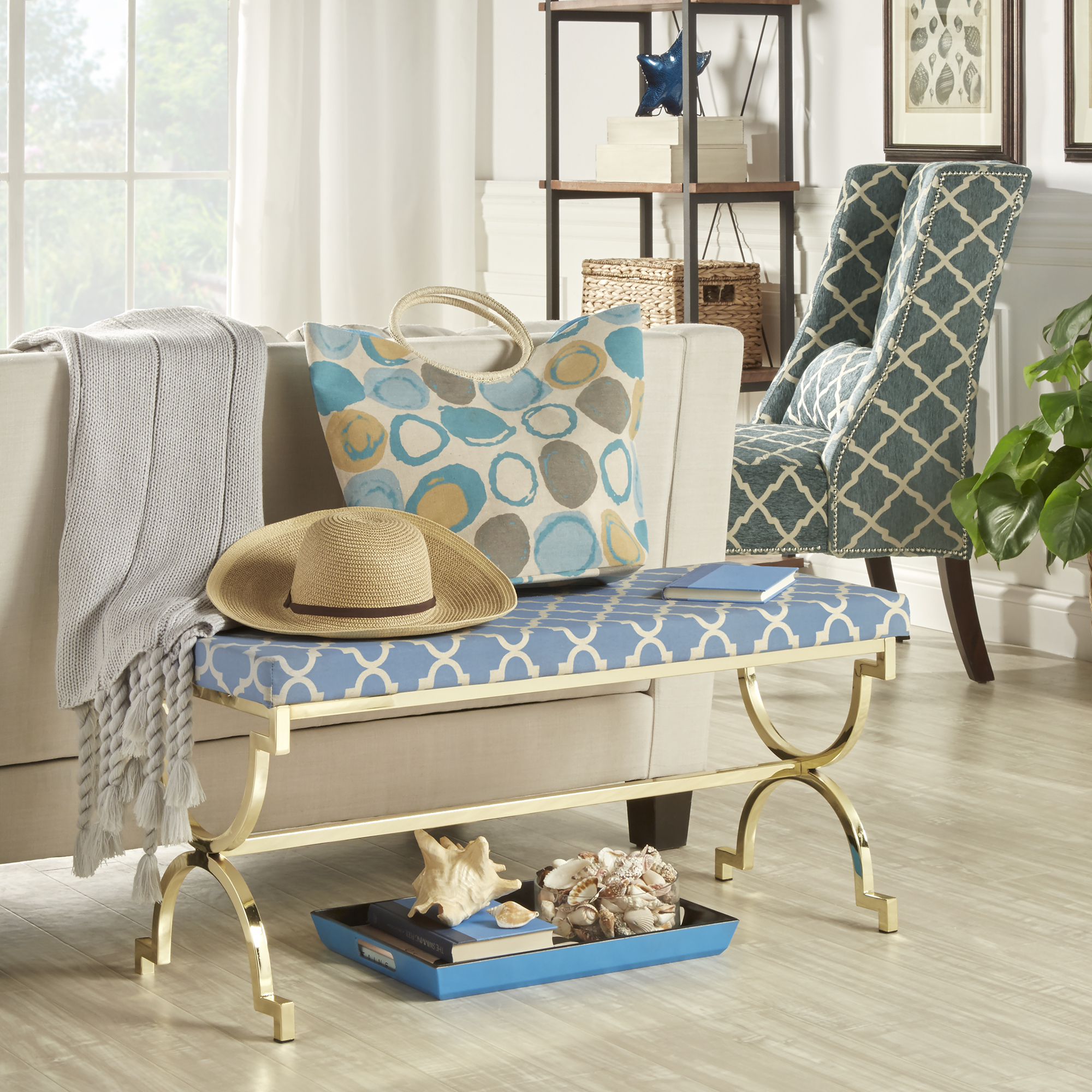 Give the heart of your home a breath of fresh air with a bright pop of color  and a shimmer of unique Moroccan pattern! Placing this bench behind your  sofa ...