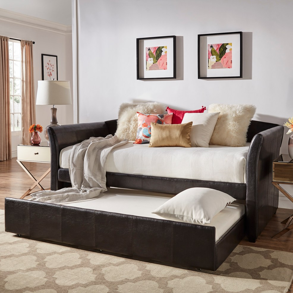 iNSPIRE Q black faux leather upholstered day bed with pulled out trundle