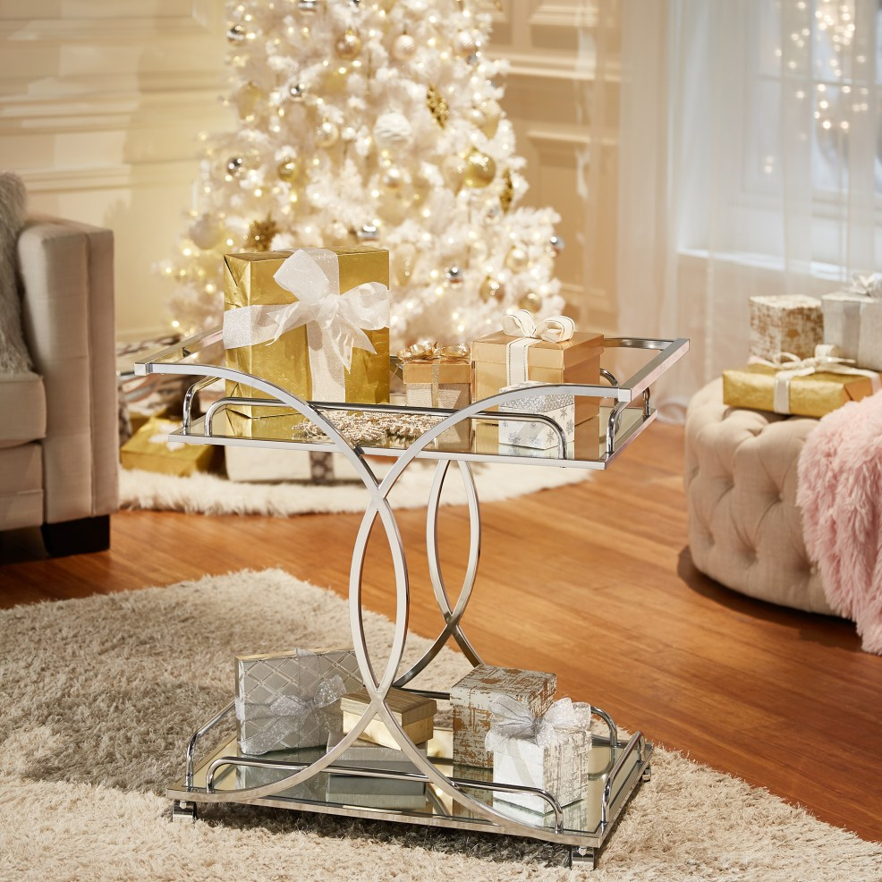 iNSPIRE Q Unexpected Bar Cart hacks-- gift wrapping station