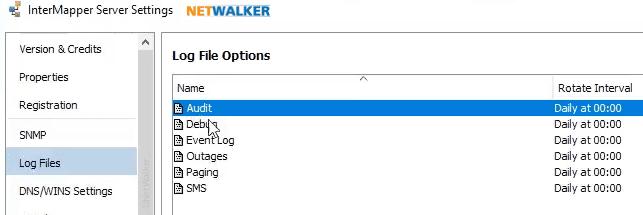 Intermapper 6.5.2 Audit log settings