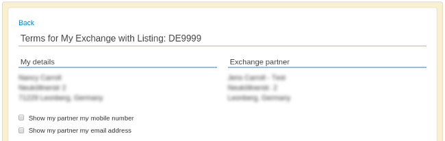 Screenshot - Partner Information on Exchange Agreement