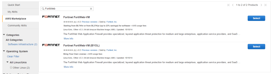 AWS Marketplace Fortiweb