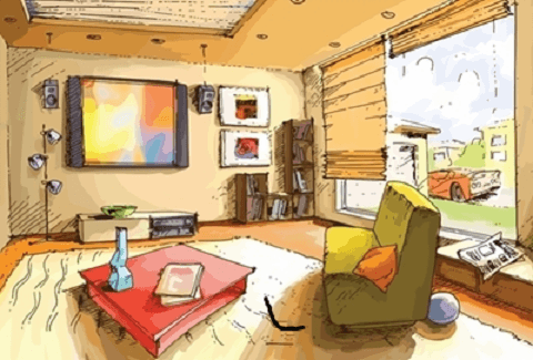 The light and empty interior of a living room in a bright sunny day