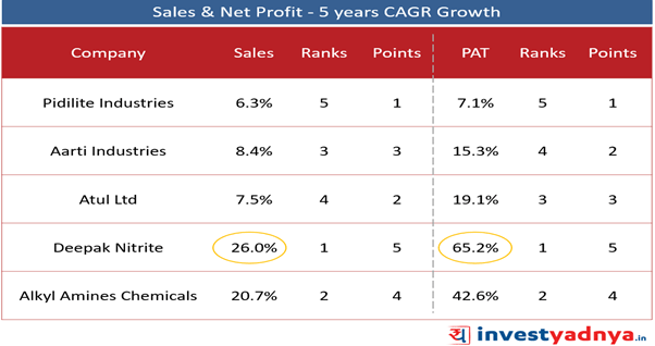 Top 5 Specialized Chemical Companies- Sales & Net Profit Growth- 5 Years CAGR