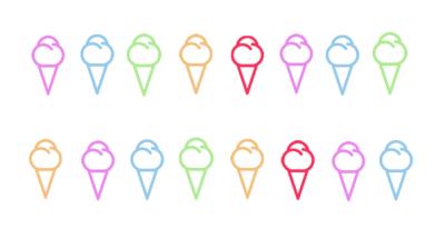 Rainbow Colored Ice Cream Icons