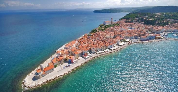 A stunning aerial shot of Piran, Slovenia