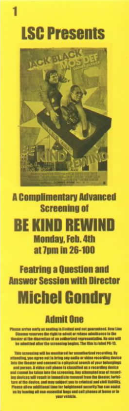 Be Kind Rewind Ticket