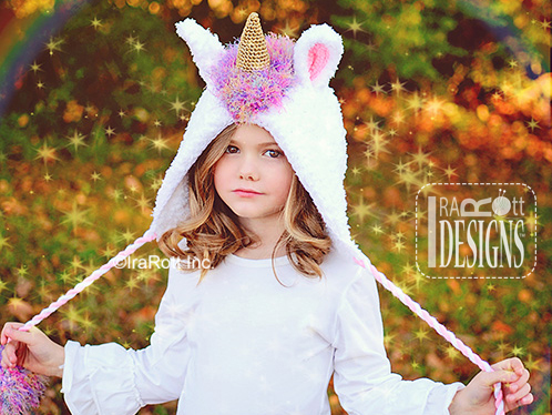 Unicorn Bonnet with Twisted ties crochet pattern by IraRott