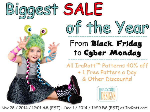 Black Friday to Cyber Monday Specials Animal Hats and Crochet Patterns by Irarott