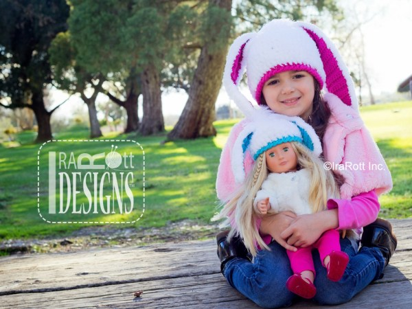 Easter Bunny Rabbit Animal Hat Crochet Hat Pattern for girls and dolls by IraRott