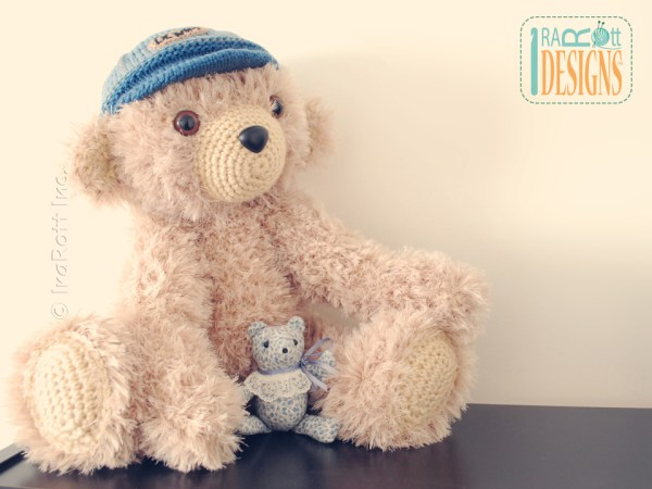 Stuffed teddy bear in denim cap crochet pattern by Irarott