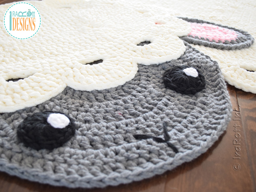 Crochet pattern PDF by IraRott for making an Easter lamb rug or sheep reading mat using Bernat Blanket yarn
