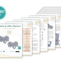 Josefina and Jeffery Crochet Elephant Rug by IraRott - 2017 Pattern Update