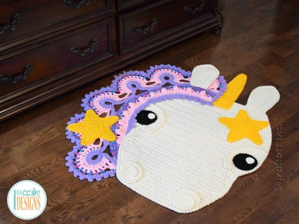 Sophia the Starry Unicorn Crochet Rug Pattern By IraRott