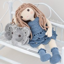 Josefina Doll With Jeffery Elephant Pillow Crochet Pattern by IraRott
