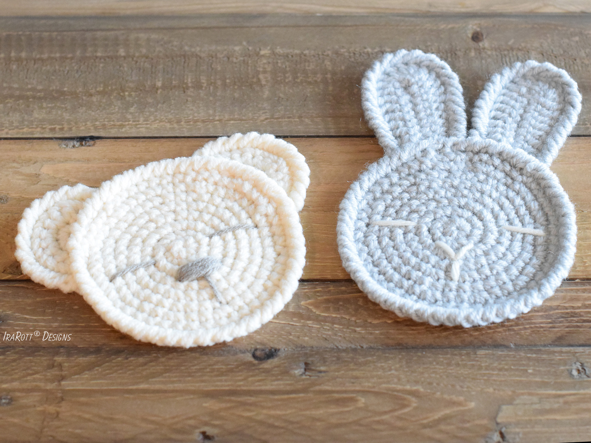 The Sleepy Bunny and Bear Coasters Free Crochet Pattern by IraRott