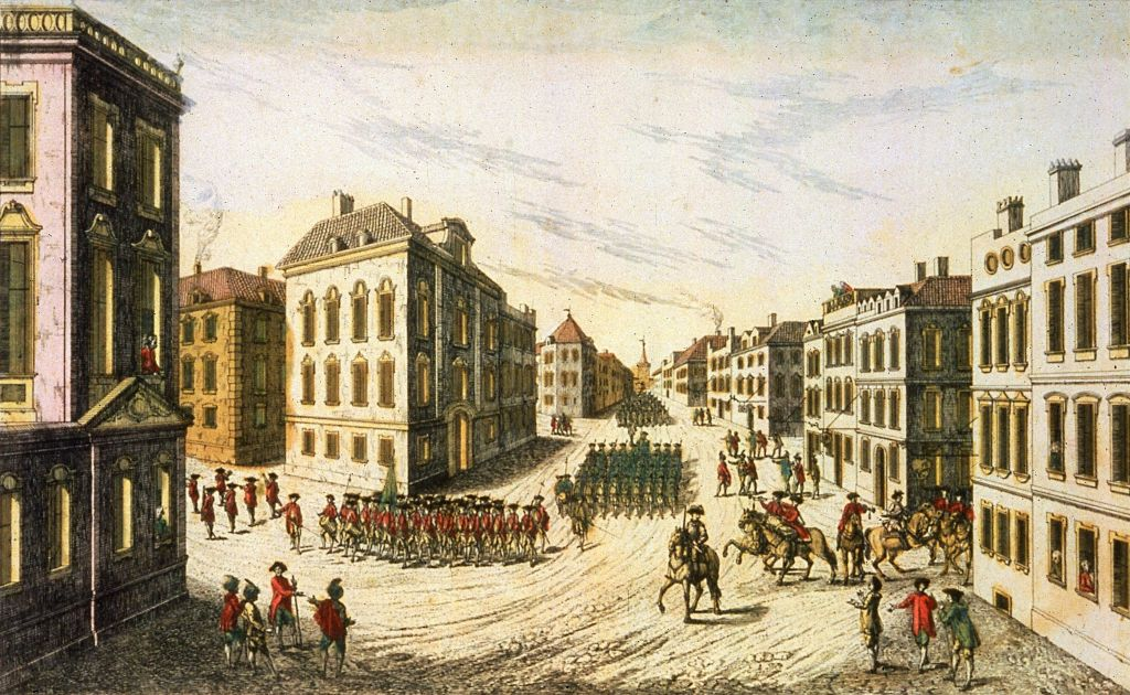 September 1776: British-Hessian troops under the command of General Howe parading through New York as they took over the city during the American War of Independence. The city was occupied for seven years. Original Artwork: Engraved by Habermann (Photo by MPI/Getty Images)