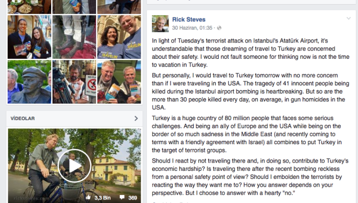 Rick Steves Official Facebook Page Post