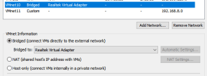 Virtual Network Manager window