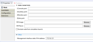 Manual assigmnent of management IP address so we can manage simulation in VIRL from our LAN