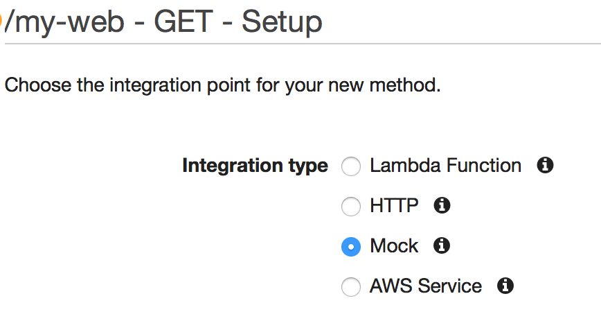 Create GET method and select Mock type