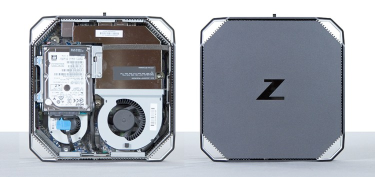 hp z2 g3 mini workstation interior view and top view image