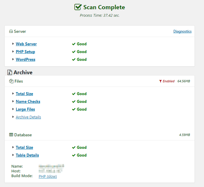 The results of your package settings are shown here.