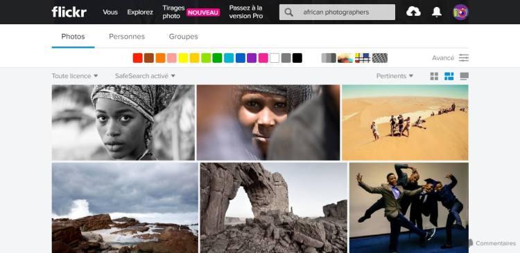 Interface de la version gratuite de Flickr, Top 5 des réseaux sociaux pour photographes