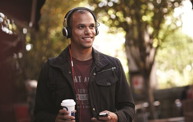 Man listening to Jabra Revo