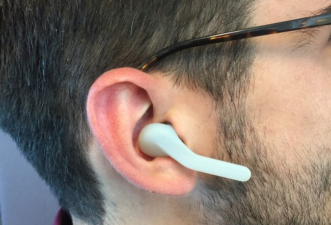 Person wearing Jabra Eclipse mock-up