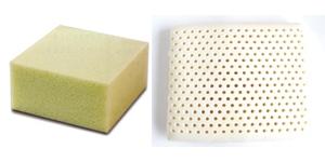 A gauche une mousse polyuréthane à droite une mousse latex