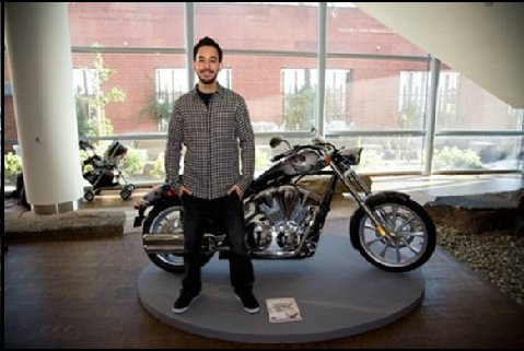 Mike Shinoda with Glorious Excess motorcycle