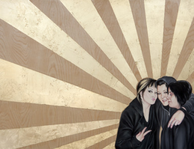 CARM'S CREW (2009) Shizu Saldamando Gold leaf and oil on wood. Jo Willems and Karen O'Brien. Photograph by Michael Underwood. © Shizu Saldamando