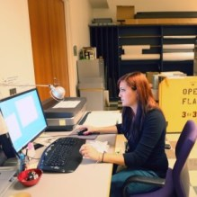 Media Arts intern, Kelly, searches for artifacts on JANM's database.