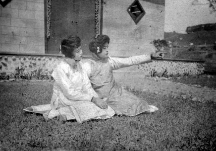 Marion Wong and Violet Wong acting in a lost scene from The Curse of Quon Gwon. The Marion Wong Collection. Courtesy of Arthur Dong.