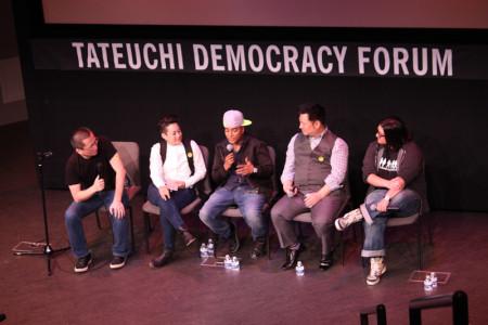L to R: Curtis Chin, Erin O'Brien, D'Lo, Rex Lee, Nahnatchka Khan. Photo: Richard Murakami.