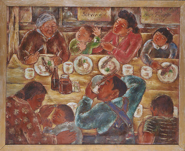 Henry Sugimoto, Our Mess Hall (1942), oil on canvas. Japanese American National Museum, Gift of Madeleine Sugimoto and Naomi Tagawa.