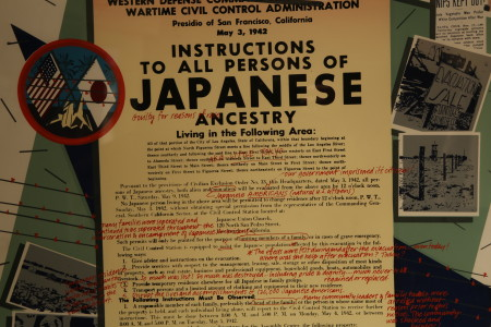 Detail of Qris Yamashita's Redress/Reparations Now!/Little Tokyo. Photo by Gary Ono.