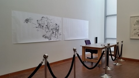 Katsuya Terada's unfinished drawing, as he left it in October. The artist will return to JANM this month to complete the work. Photo by Carol Cheh.