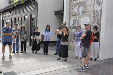 Roxana Lewis gives the group the inside scoop on Little Tokyo.